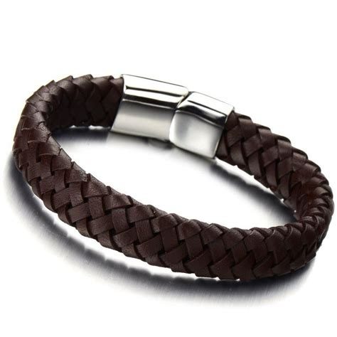 minimalist brown braided leather bracelet for