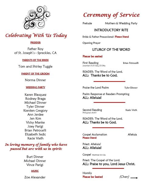catholic wedding ceremony program sle page 2 inside of