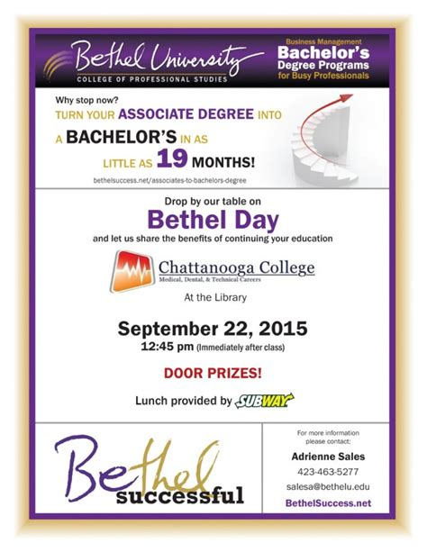 Utc Mba Tuition by Bethel Day Chattanooga College Bethel