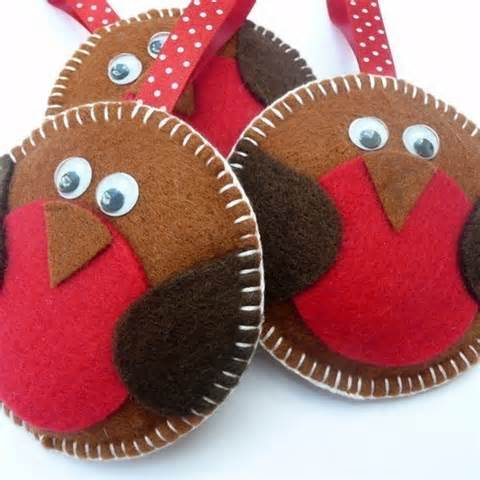 rockin robin felt christmas decoration single folksy