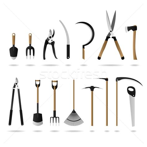 gardening tools list with pictures images gardening tool and equipment in group vector vector