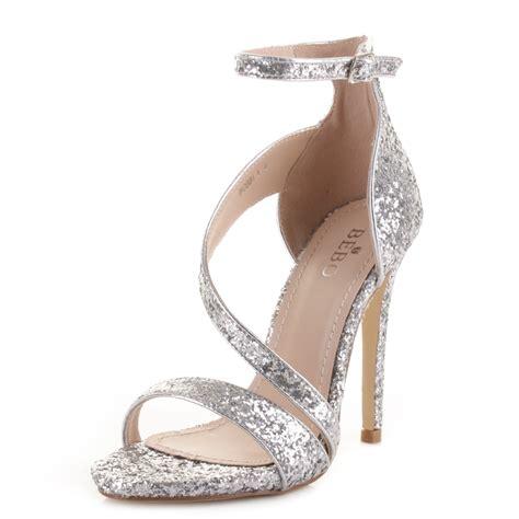womens silver glitter strappy prom wedding high heel