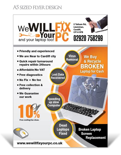 Bold Modern Flyer Design For We Will Fix Your Pc By Designconnection Design 1185253 Computer Repair Ad Template