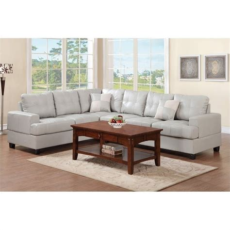 Reversible Sectional Sofa Poundex Bobkona 2 Reversible Sectional Sofa In Light Gray F7639
