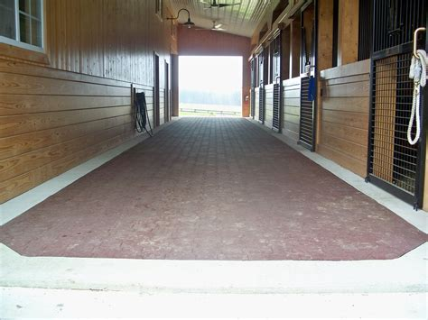barn floor center aisle with rubber pavers precise buildings