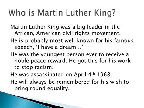 Luther King Powerpoint Powerpoint Martin Luther King