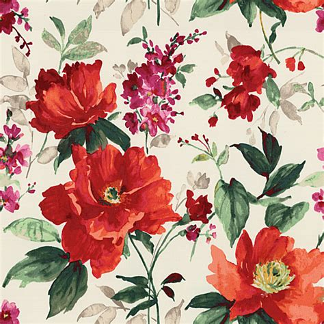bright floral upholstery fabric bright red painterly floral sateen fabric traditional