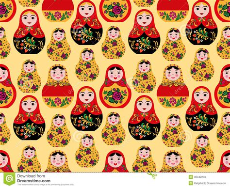 russian doll design wallpapers seamless pattern with cute russian dolls royalty free