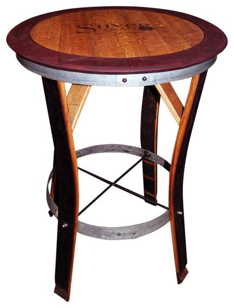 Barrel Bistro Table Wine Barrel Table With Trim Staves Out Transitional Indoor Pub And Bistro Tables