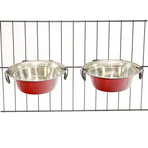 water bowl for crate 2 stainless steel bowls with hooks pet food water