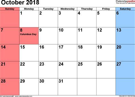Calendar 2018 October Printable October 2018 Calendars For Word Excel Pdf