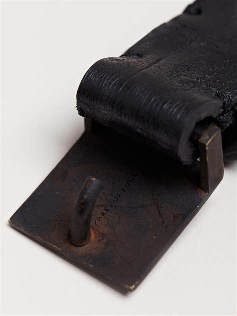 parts of 4 plate buckle crocodile leather belt in black