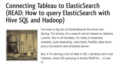 tableau hive tutorial community highlight connecting tableau to elasticsearch