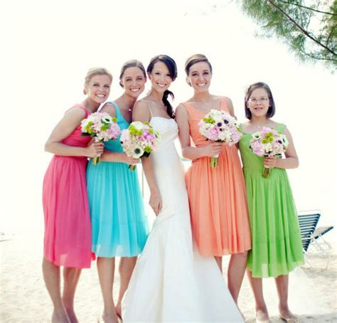 Bright Coloured Bridesmaid Dresses - bridesmaid beautiful scenery on the wedding