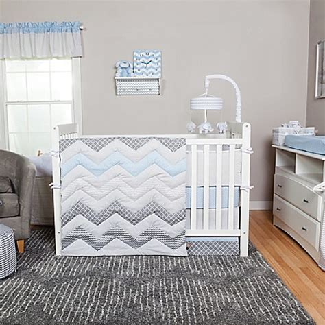 blue nursery bedding sets trend lab 174 blue taffy chevron 3 crib bedding set buybuy baby