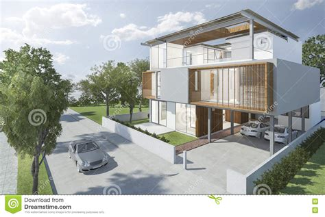 good design house 3d rendering exterior of modern house with good design stock illustration