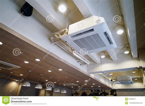 Ac Ceiling ceiling type hanging air conditioner unit stock photo