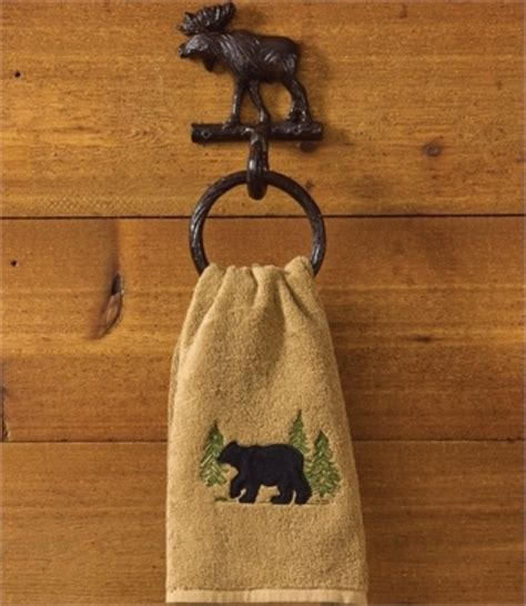 moose bathroom accessories cast iron moose ring hook towel holder lodge cabin