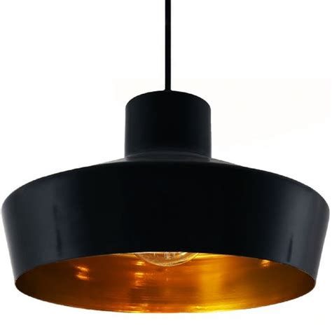 Black Metal Ceiling Pendant Light Fitting With Metallic Metal Ceiling Light