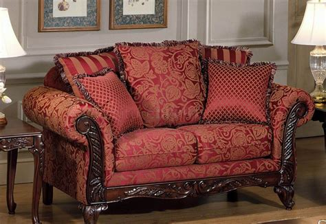 traditional fabric sofas red fabric traditional sofa loveseat set w optional chaise