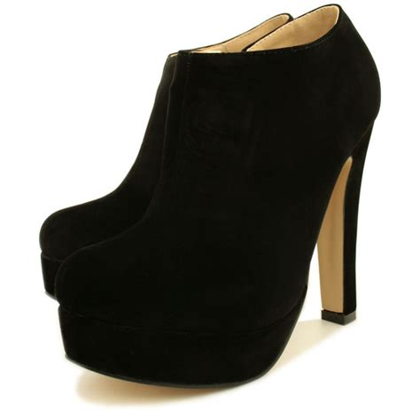 womens black suede style stiletto heel platform ankle