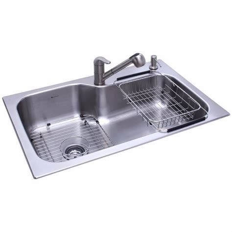 glacier bay all in one 2 hole single bowl kitchen sink