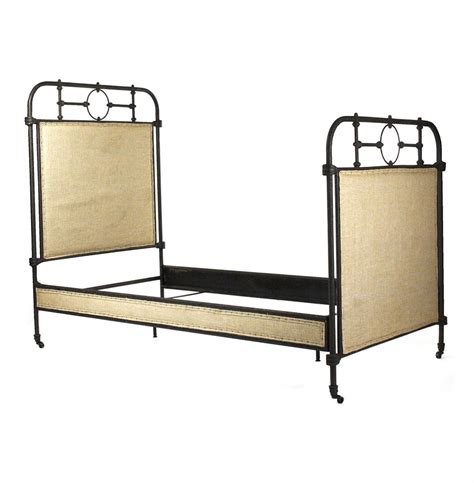 rustic twin bed frame alaric burlap antique iron industrial rustic twin bed frame kathy kuo home