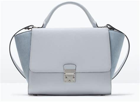Zara City Trapez zara combined city bag with buckle trapeze bag light blue