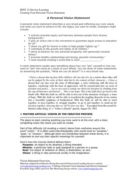 personal vision statement template essay exles pdf worksheet printables site
