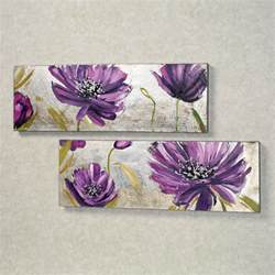 Purple Wall Decor by Purple Floral Canvas Wall Set