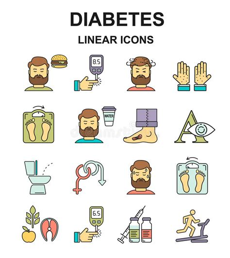 diabetes symptoms  control  style colored icons