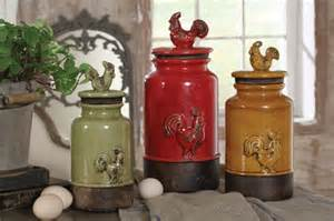 Rustic Kitchen Canisters New 3pc Kitchen Storage Rooster Canisters Rustic Vintage