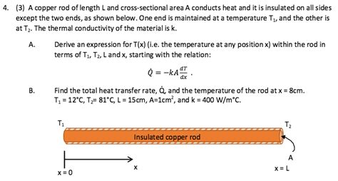 cross sectional area of rod solved a copper rod of length l and cross sectional area