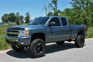 Blue Chevy Truck Black Wheels Light Blue Color Lifted Chevrolet Silverado Truck