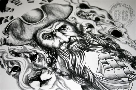 blackbeard tattoo a pirate design design graphics