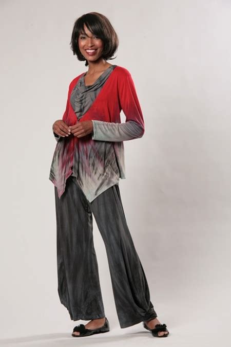 Aiko Tunic Inc of cloth jacket in volcano with aiko pant and cowl neck tank in quicksilver my style