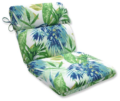 Outdoor Cushions Tropical Soleil Blue Green Rounded Corners Chair Cushion Tropical