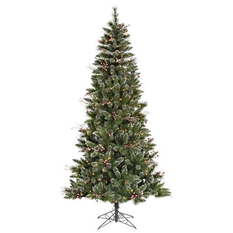 4 ft cone berry snow tip tree 7 foot snow tip tree with pine cones and berries mini lights b106271
