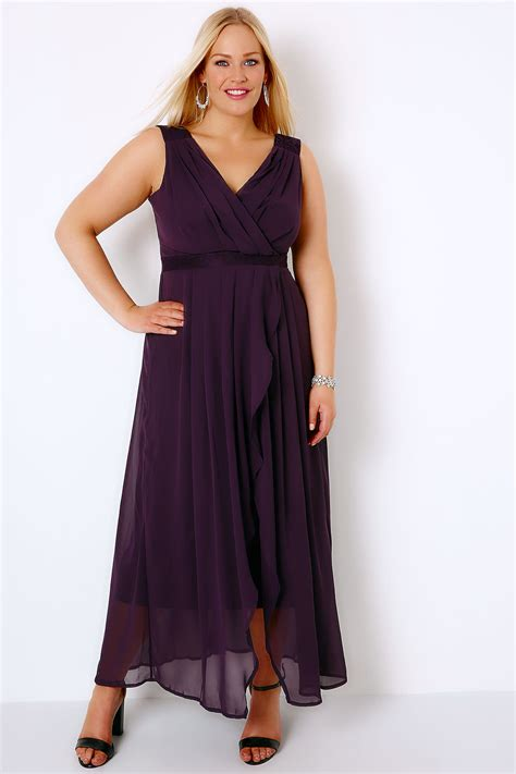 Purple Maxi Dress purple ruched chiffon maxi wrap dress with lace detail