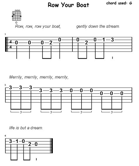 section 5 row your boat g chord - Row Boat Guitar Chords