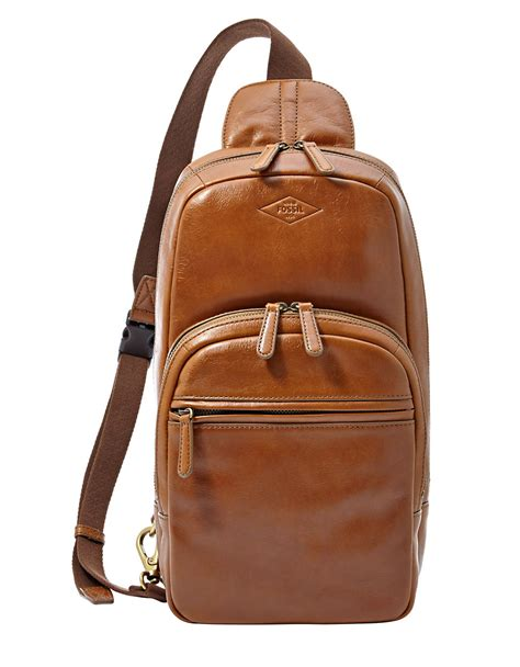 Fossil Leather Brown fossil leather backpack in brown for lyst