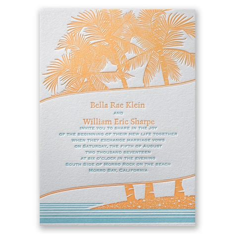 Tropical Wedding Invitations by Tropical Escape Letterpress Invitation Invitations By