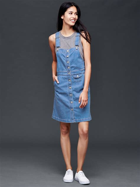 celebrity pink overall dress gap 1969 denim overall dress in blue medium indigo lyst