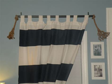 Nautical Striped Curtains Decor Diy Painted Bold Stripe Curtains Diy Curtain Rod Using Electrical Conduit And Hardware From
