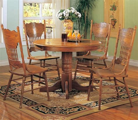 oak dining room set how to go traditional elegantly oak finish traditional 5pc round dining set w pedestal base