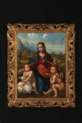 quadri con cornice dorata tavola con madonna ges 249 bambino e giovannino in paesaggio