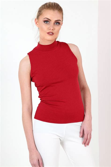 Turtle Neck Ribbed Top sleeveless turtle neck ribbed top from premier glam