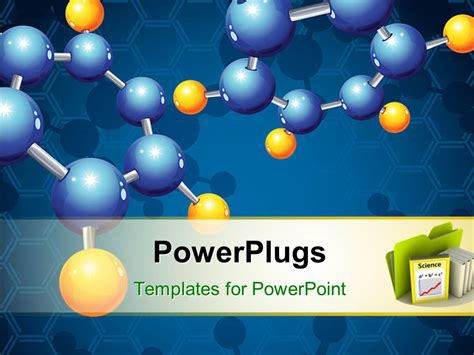 templates powerpoint powerplugs powerpoint template yellow and blue molecular structure