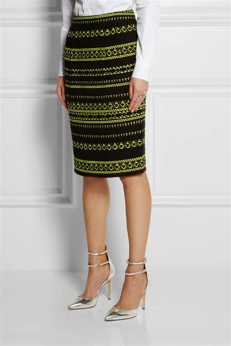 j crew collection neon jacquard pencil skirt in green