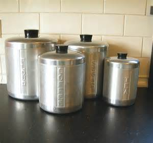 Stainless Kitchen Canisters by Vintage Stainless Steel Canisters